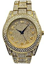 Bling-ed Out Money Watch Rich in Appearance All Iced Out with Easy Reader Gold Overlayed Arabic Numbers on Dial - ST10238B Gold