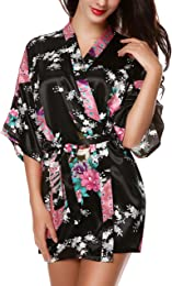 Pyjama kimono court en satin avec imprimé floral p