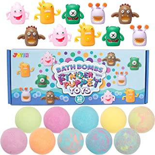 Sponsored Ad - Bath Bombs with Toys Inside, 10 Packs Bubble Bath Bombs with Variety Finger Puppet Toys, SPA Bath Fizzies S...