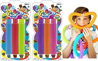 JA-RU Pull Pop Tubes Sensory Fidget Toys (6 Tubes in 2 Packs) Pop Play Tubes Sensory Toys Pipe Tools for Stress Toys and A...