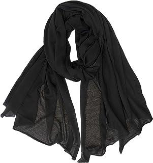 Fantasie Terrene Stola Sciarpa lana Donna, lavorata a maglia fine, in Misto Lana di alta qualità, Made in Italy. Colore nero
