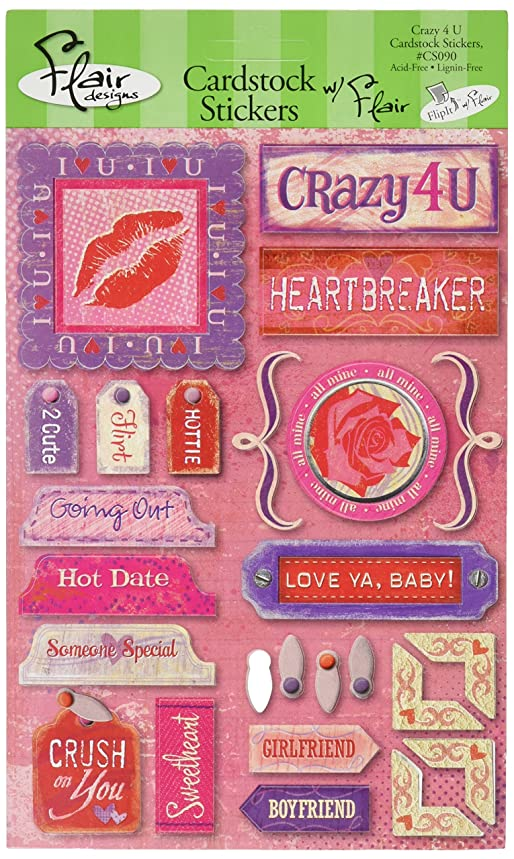 Flair Designs Crazy 4 U 5-1/2 Inch by 9 Inch Cardstock Stickers
