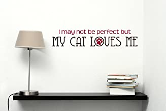 Wall Decor Plus More WDPM3247 My Cat Loves Me Wall Decal Pet Graphic, 23 x 4.5-Inch, Chocolate and Red