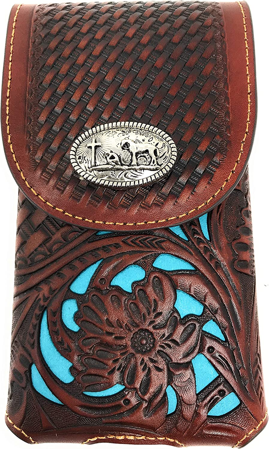 Texas West Western Cowboy Tooled Floral Leather Praying Cowboy Concho Belt Loop Extra Large Cell Phone Holster Case (Brown/Turquoise)