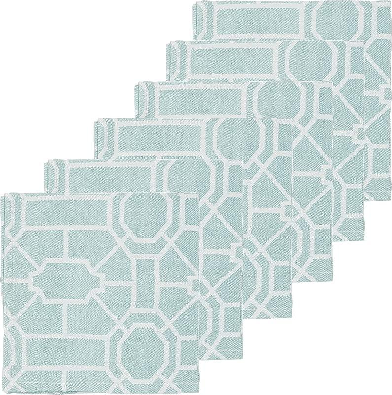 C F Home Trellis Sea Glass Cotton Napkin 18x18 Set Of 6 Napkin Set Of 6 Sea Glass Green