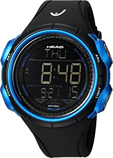 HEAD Men's Quartz Watch, Digital Display and Rubber Strap HE-100-01