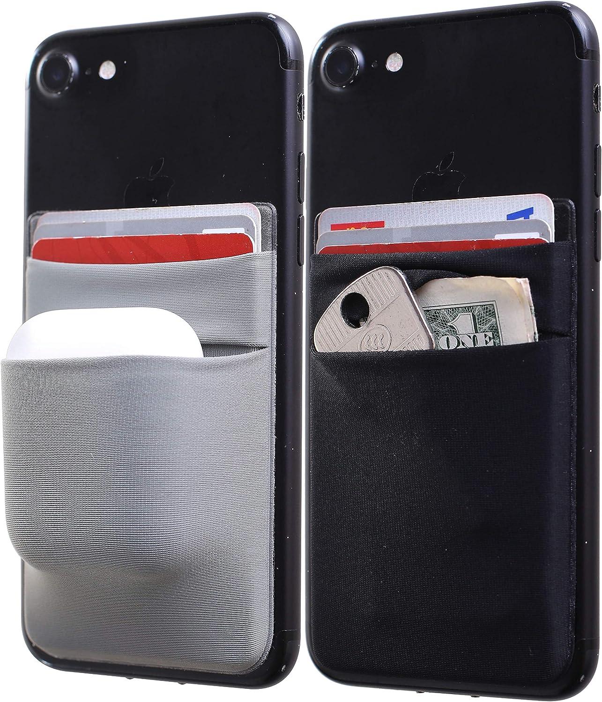 [Two] Credit Card Holder for Back of Phone Stick on Phone Wallet Card Holder Double Pocket Sleeve iPhone Card Holder Airpod Holder for Cell Phone (Black+Dark Grey)