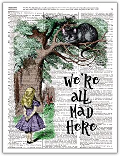 We're All Mad, Alice in Wonderland Vintage Dictionary Page Photo Wall Art, 8x10 Unframed