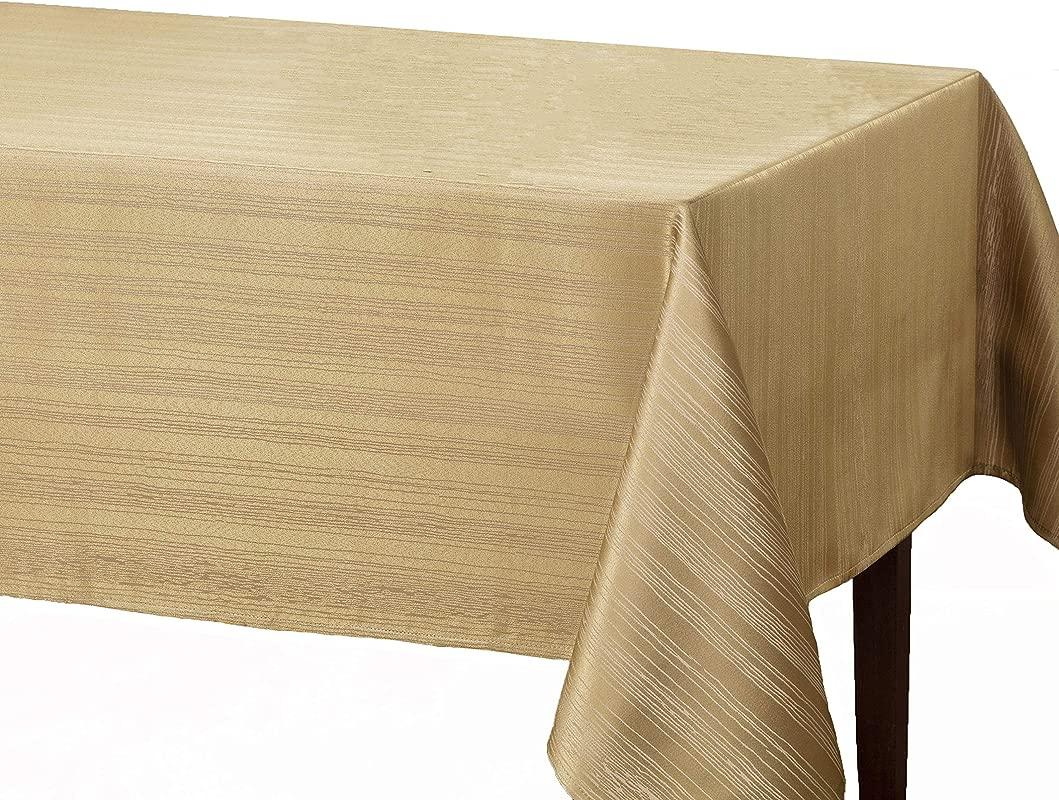 Benson Mills Flow Spillproof Fabric Tablecloth 60X84 Inch Ivory Ecru Renewed