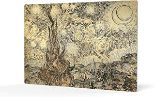 HB Art Design Cypresses in Starry Night, a Reed Pen Drawing 1889 Vincent Van Gogh Metal Print Wall Art Living Room Office Bedroom Decor Artwork Classic Modern Art Ready to Hang Made in The USA 11x17