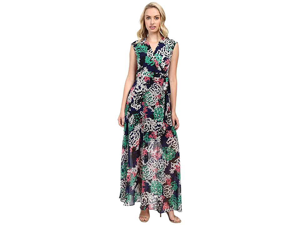 Taylor Chiffon/Jersey Maxi Dress (Navy/Coral) Women