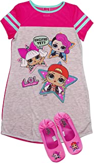 L.O.L Surprise! Pajama Set, Dorm PJs with Slippers, Rocker Diva and MC Swag of LOL Surprise,Girls Pajama Size 4/5 to 10/12
