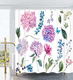 Ao blare Floral Shower Curtain Watercolor Pink Hydrangea Purple Blue Flower Blue Fruit Polyester Fabric Bathroom Curtain Decor Set Hooks 72 X 72 Inches