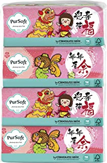 PurSoft Chocolate Rain CNY 3 PLY Soft Pack, 130ct (Pack of 4)