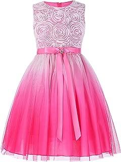 GRACE KARIN Girls Sleeveless Rose Princess Party Dresses Ribbon