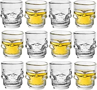 Juvale Bulk 12-Pack Clear Glass Skull Shot Glasses for Parties, Pirate Theme Party, Vodka, Tequila, Whiskey - 1.6 Ounces
