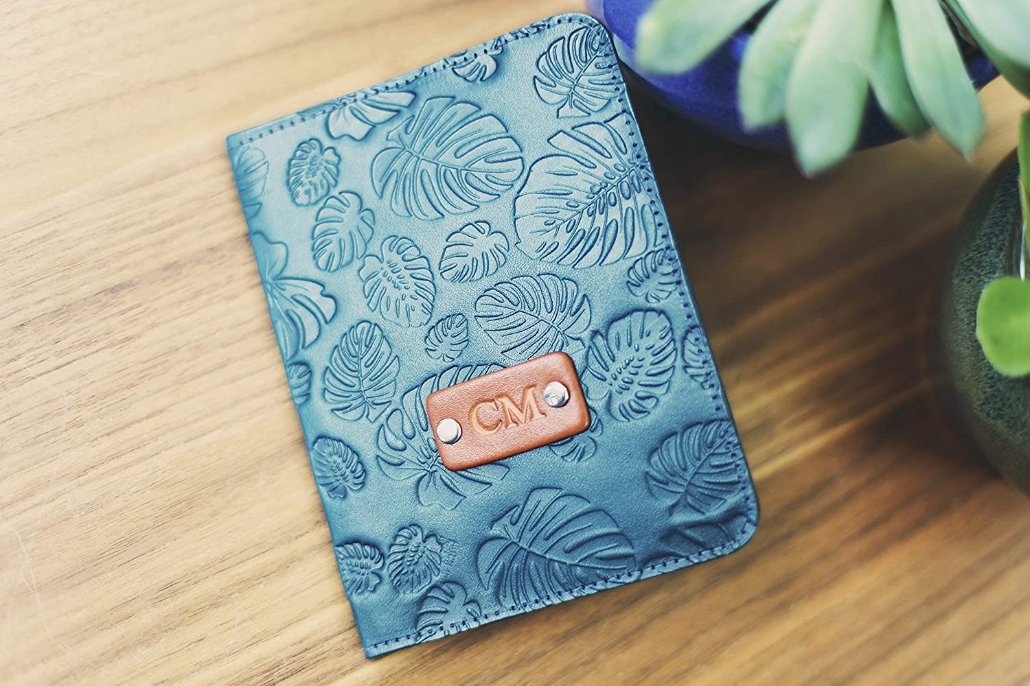Personalized Real Leather Passport 5% OFF Max 60% OFF Holder Cover leave Monstera