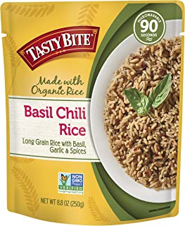 Tasty Bite Rice Basil Chili 8.8 Ounce 6 Count, Savory Spiced Basil Chili Rice, Fully Cooked, Ready to Serve, Microwaveable, Vegan Gluten-Free No Preservatives