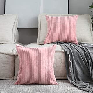 Home Brilliant Decor Pillow Covers Decoration Supersoft Striped Velvet Corduroy Decorative Throw Toss Pillowcases Cushion Cover for Girls, 2 Packs, Baby Pink, (45x45 cm, 18inch)
