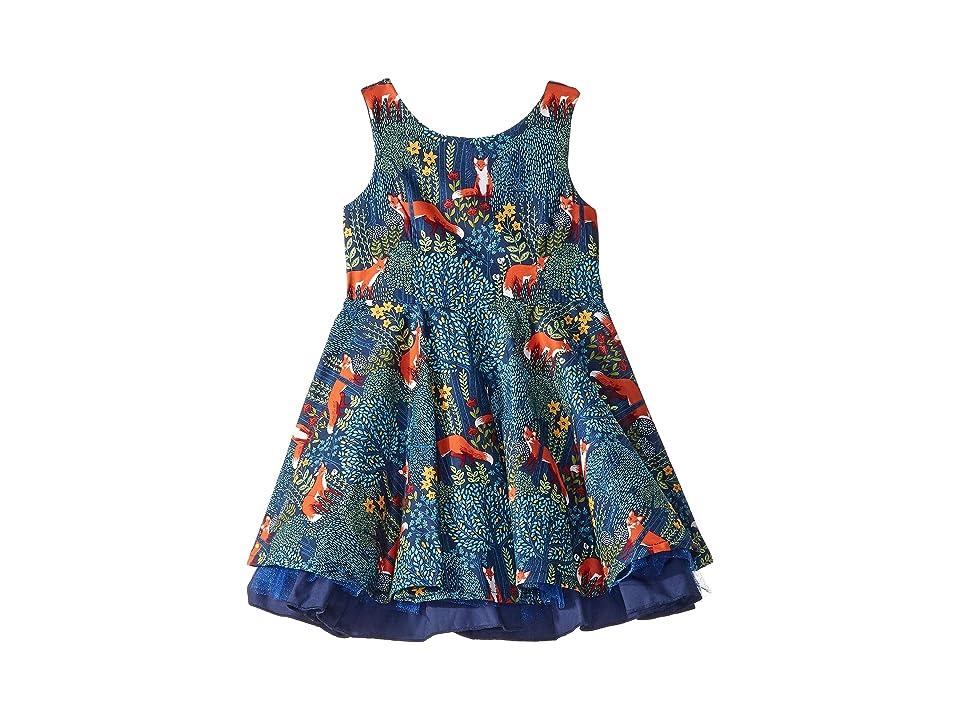 fiveloaves twofish Fox Fashionista Dress (Toddler/Little Kids) (Navy) Girl