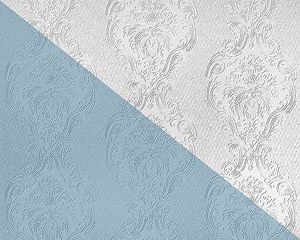 Papier Peint Baroque EDEM 83008BR60 Papier Peint Intissé à Peindre Texturé  Avec Des Ornements Mat Blanc