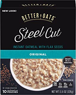 Better Oats, Steel Cut Classic Instant Oatmeal With Flax, 10 Ct Box