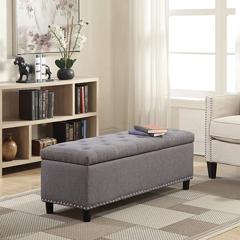 Belleze 48 Rectangular Gray Storage Fabric Ottoman Bench Tufted Footrest Lift Top