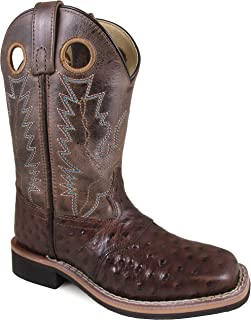 Smoky Mountain Boys' Cheyenne Ostrich Print Boot Square Toe
