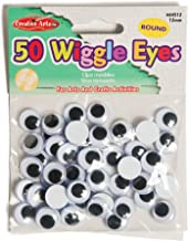 Creative Arts by Charles Leonard Wiggle Eyes, Round, 12mm, Black, 50/Bag (64512)