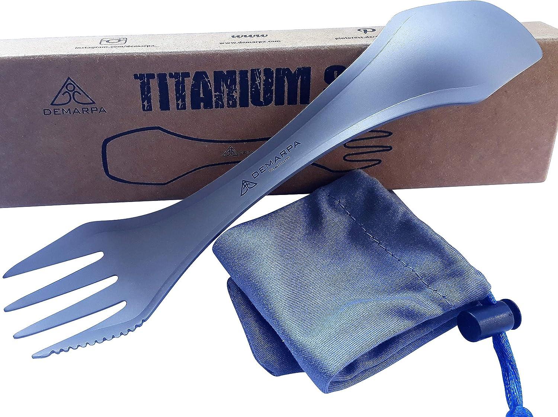 DEMARPA Titan Spork 3 en 1 (combinación de cuchara, tenedor y cuchillo), tenedor para todas las actividades al aire libre, camping y senderismo, ...