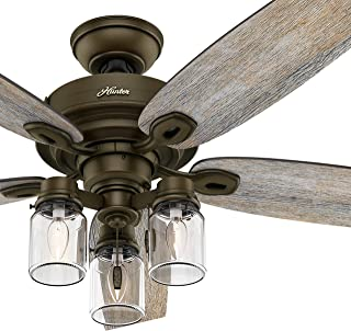 Hunter Fan 52 inch Regal Bronze Ceiling Fan with Three Light Fitter and Remote Control, 5 Blade (Renewed)