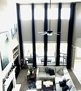 """Ikiriska Blackout Extra Long Curtain for 2 Story Living Rooms, Drape 10,12, 14, 15 16, 17, 18, 20, 24 feet Long 100 and 50 inche Wide. (Black, 100"""" Wx156 L)"""