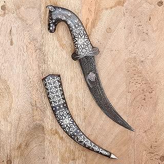 CraftVatika Horse Face Dagger Indian Handmade Damascened Khanjar Mughal Indo Persian Damascus Sword Art Antique Collectible