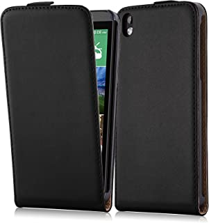 Cadorabo Case Works with HTC Desire 816 in Caviar Black – Flip Style Case Made of Smooth Faux Leather – Wallet Etui Cover Pouch PU Leather Flip