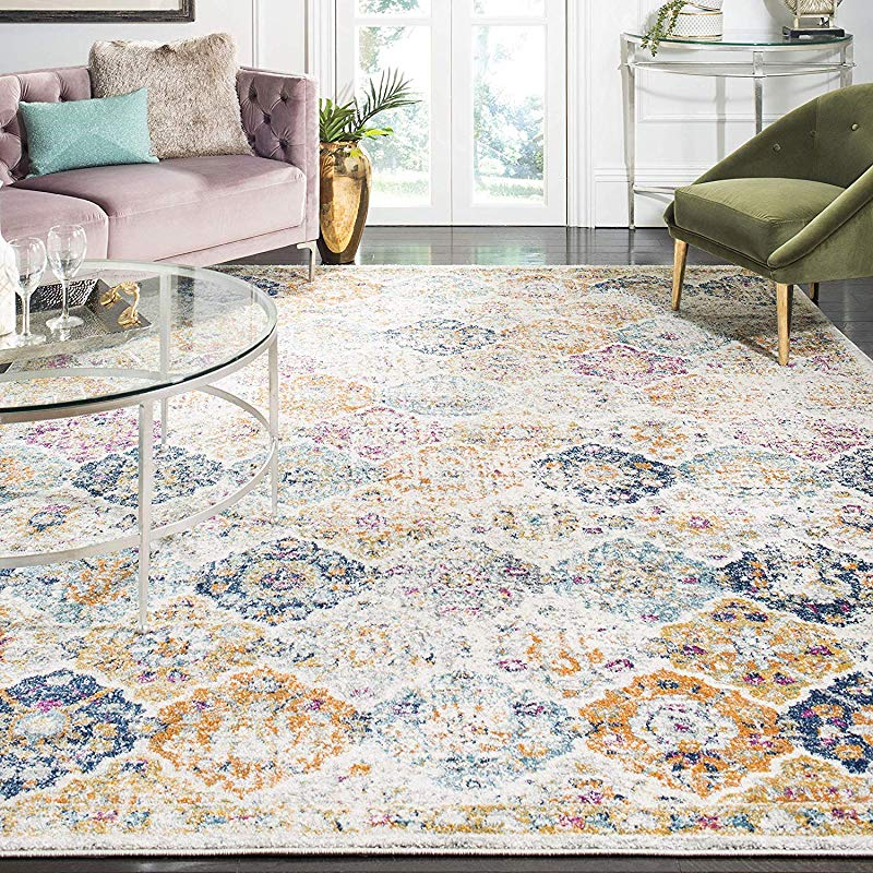 Safavieh Madison Collection MAD611B Cream And Multicolored Bohemian Chic Distressed Area Rug 5 1 X 7 6