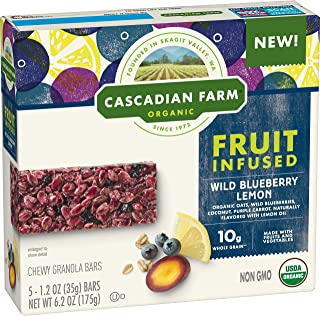 Cascadian Farm Fruit Infused Chewy Granola Bars, Wild Blueberry Lemon, 5 Count