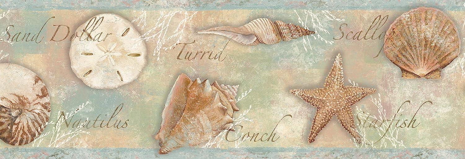 Chesapeake BBC46051B Quinten Seashells Bl Wallpaper Arlington Mall gift Toss Border