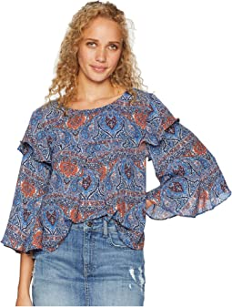 "Eat Slay Love ""Blue Dynasty"" Printed Crepe de Chine Top"
