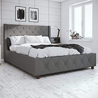 CosmoLiving Mercer Upholstered Bed - Queen - Grey Linen
