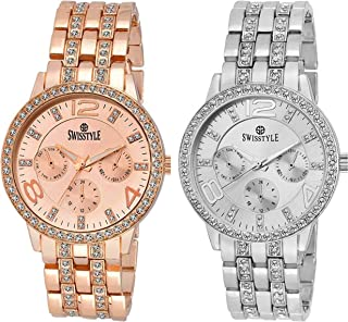SWISSTYLE Analogue Women's Watch (Silver & Gold Dial Silver & Rose Gold Colored Strap) (Pack of 2)…