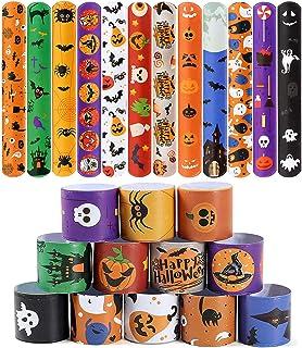 48 PCS Halloween Slap Bracelets for Kids Snap Bracelets Bulk with Spider Pumpkin Ghost Animal Print Craft Halloween Party ...