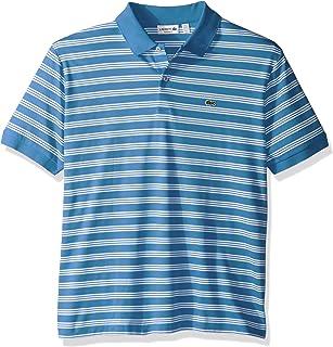 Lacoste Men's Short Sleeve Jersey Stripe Regular Fit Woven Shirt, DH2017