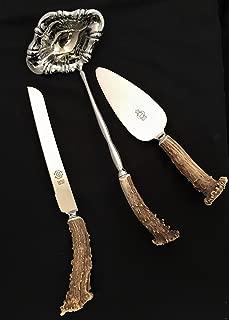 Antler Handled Wedding Serving Set with Knife, Server and Ladle