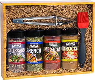 Milliard Premium Gourmet Spices and Seasonings, Gift Box Grill Set for Guys, Dad, Men, BBQ Grill Accessories with Stainles...