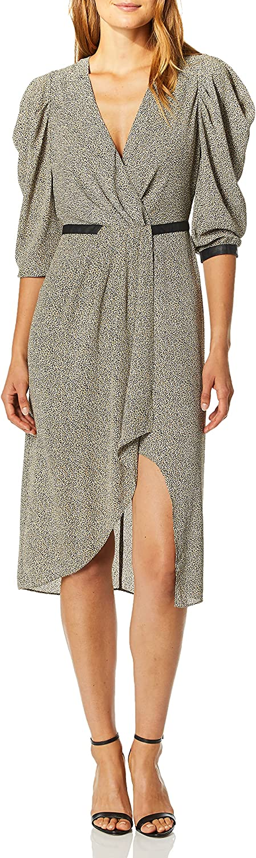 MILLY Women's Industry No. 1 Knit Textured 3 4 Cheetah Hem Sleeve Dress Mermaid Popular