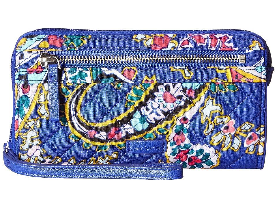 Vera Bradley Iconic RFID Front Zip Wristlet (Romantic Paisley) Wristlet Handbags