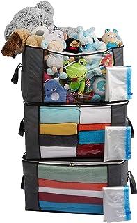 Rangement penderie, Sacs de rangement sous le lit avec sacs de rangement sous vide Ensemble de 3 grands 84L, Sacs pour zip...