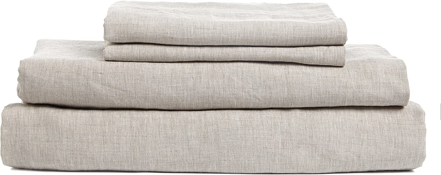 DAPU Pure Stone Washed Linen Sheets Set 100% French Natural Linen European Flax (King, Natural Linen, Flat, Fitted and 2 Pillowcases