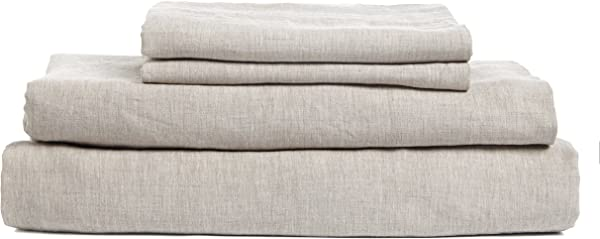 DAPU Pure Stone Washed Linen Sheets Set 100 French Natural Linen European Flax Queen Natural Linen Flat Fitted And 2 Pillowcases