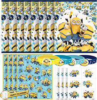 Unique Minions Party Favors Party Bundle | Sticker Sheets, Loot Bags, Bracelets, Tattoos | Despicable Me Birthday for Kid...